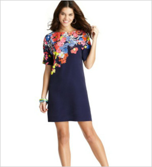 Placed Floral Print Silk Cotton Dress